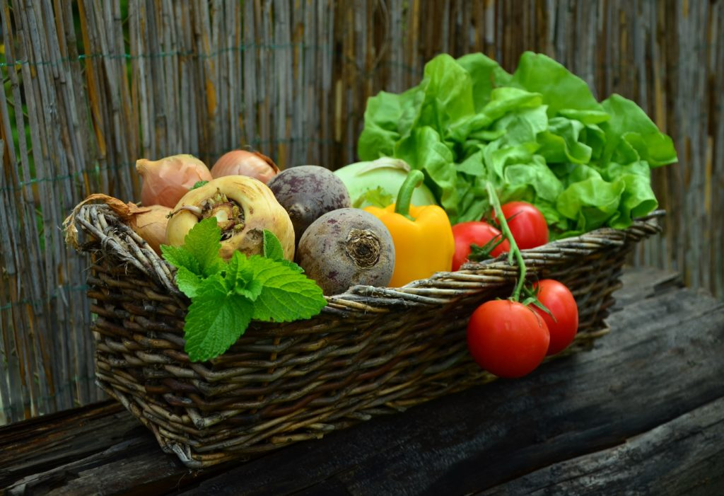 Companion plants with tomatoes, lettuce beets and onions in a basket