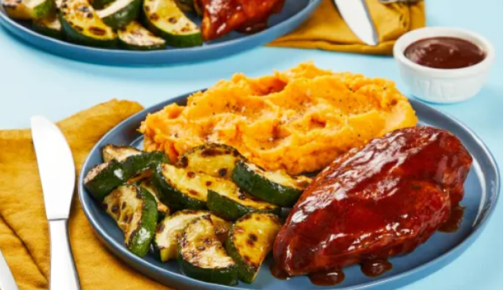TANGY MUSTARD BBQ CHICKEN WITH ZUCCHINI AND CHIPOTLE MASHED SWEET POTATOES Recipe