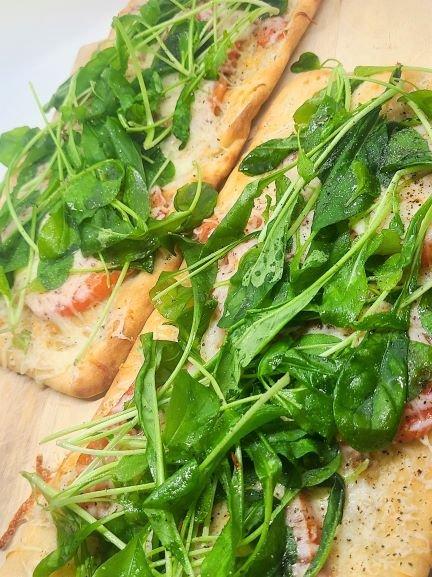 Fresh Arugula on Flatbread Pizza